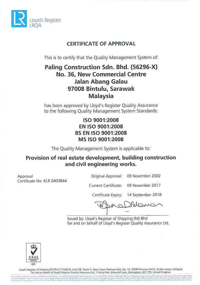 Certificate of Approval for Quality Management System Standards