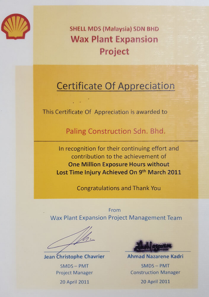 One Million Exposure Hours wihtout Lost Time Injury Achieved on 9th March 2011