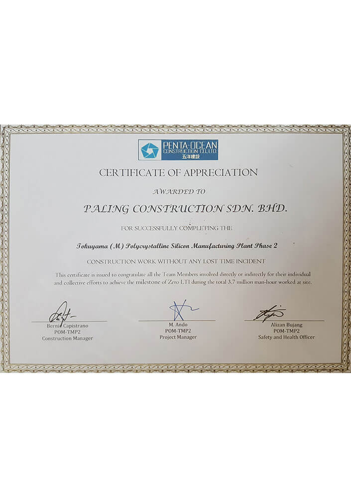 Certificate of Appreciation - Construction Work Without Any Lost Time Incident