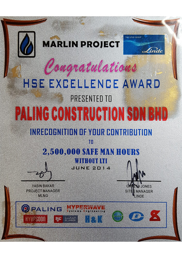 In Recognition of Contribution to 2,500,000 Safe Man Hours Without LTI