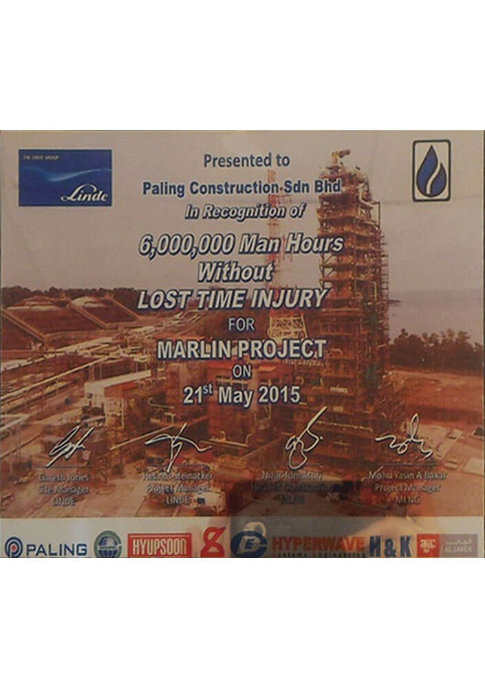 In Recognition of 6,000,000 Man Hours Without Lost Time Injury For Marlin Project